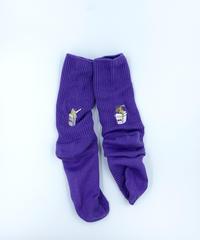 【レディース】ランチボックス刺繍ソックス _パープル