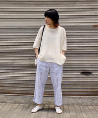 O project / SS WIDE FIT TEE MESH / KINARI, LT BROWN