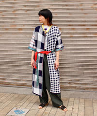 TOGA PULLA / Check knit long cardigan / white