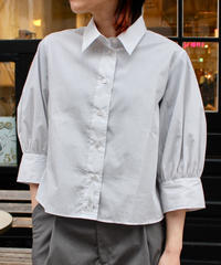 STUDIO NICHOLSON / STRIPE PUMINO GATHERED BACK SHIRT / GRAY WHITE