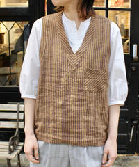 FRANK LEDER / ROOT DYED STRIPED LINEN VEST / DK BROWN