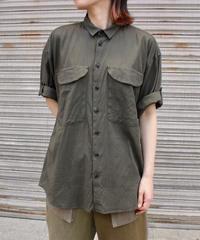 KLASICA / loose half sleeve shirt / OLIVE, BLACK