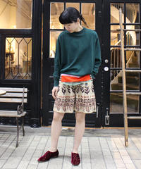 TOGA PULLA / Sheer knit pullover /green, yellow, black