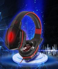 ディープベース ステレオサウンド ゲーミングヘッドフォン PC ハイクオリティ ヘッドセット PS4対応 マイク付 オンラインゲーム レッド