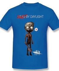 Dead by Daylight デフォルメ キャラクタープリント 半袖 Tシャツ キラー トラッパーデザイン Oネック コットン S~6XL ブルー