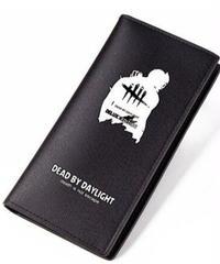 Dead by Daylight トラッパー シルエット&ロゴ ロングウォレット PUレザー 財布 男女兼用 シンプル ブラック