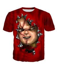 ホラー映画 チャイルドプレイ トリックアート風 ユニークプリント  Tシャツ レッドカラー S~5XL