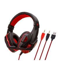 ブラックレッド クール バイカラーデザイン マイク付 ゲーミングヘッドセット 3種類接続端子 発光加工 サイバー ヘッドフォン