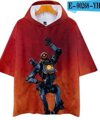 APEX LEGENDS ゆったりフィット ストリートシルエット フード付 Tシャツ レッド4