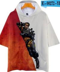 APEX LEGENDS ゆったりフィット ストリートシルエット フード付 Tシャツ レッドホワイト