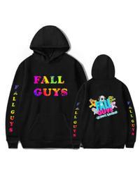 Fall Guys フォールガイズ ネオンカラー カラフルプリント バックプリント キャラクター プルオーバー 長袖 メンズ パーカー ユニセックス 秋冬 アウター XS~4XL ブラック
