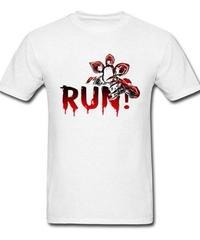 Dead by Daylight デモゴルゴン キラー ホラー 血文字デザイン RUN フロントプリント 半袖 メンズ Tシャツ XS~XXXL ホワイト