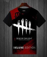 Dead by Daylight アクセントカラー 5ラインロゴ トラッパー シルエット レター フルプリント 半袖 メンズ Tシャツ S~5XL