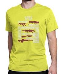 APEX LEGENDS スタイリッシュ レタープリント メンズ 半袖Tシャツ ガンシルエット 高品質 大人用 100%コットン サマートップス S~6XL イエロー