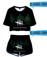 Dead by Daylight キラー シルエット 5ラインロゴ クールプリント レディース ショート丈 半袖 Tシャツ&ショートパンツ 2点セット  カジュアル トップス XS~XXL