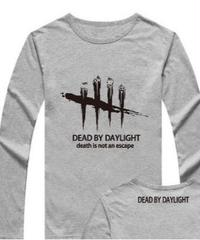 Dead by Daylight ロゴマーク 文字プリント 長袖 Tシャツ プリント Oネック トップス S~XXXL グレー
