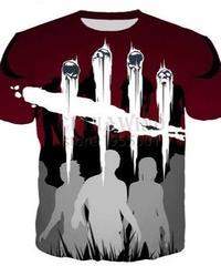 Dead by Daylight ロゴ シルエット デザイン プリント 半袖 Tシャツ サバイバー ダークレッドカラー S~5XL