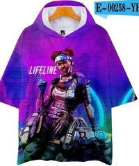 APEX LEGENDS ゆったりフィット ストリートシルエット フード付 Tシャツ パープル