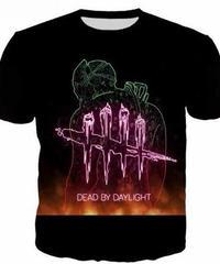 Dead by Daylight トラッパー 縁取りイラスト フロントプリント ブラックカラー 半袖Tシャツ 3Dプリント ゲーミングトップス S~5XL 男女兼用