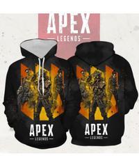 APEX LEGENDS キャラクター ロゴプリント メンズ 長袖 フード付 プルオーバー パーカー ブラック S~5XL