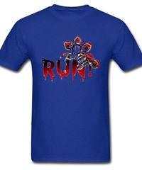 Dead by Daylight デモゴルゴン キラー ホラー 血文字デザイン RUN フロントプリント 半袖 メンズ Tシャツ XS~XXXL ブルー