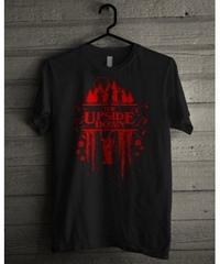 Dead by Daylight デモゴルゴン アップサイドダウン 赤文字 ホラーテイスト 半袖 メンズ Tシャツ ブラック S~XXL