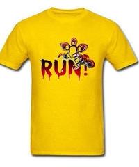 Dead by Daylight デモゴルゴン キラー ホラー 血文字デザイン RUN フロントプリント 半袖 メンズ Tシャツ XS~XXXL イエロー