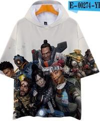 APEX LEGENDS ゆったりフィット ストリートシルエット フード付 Tシャツ ホワイト2