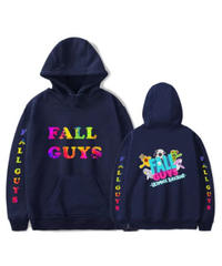 Fall Guys フォールガイズ ネオンカラー カラフルプリント バックプリント キャラクター プルオーバー 長袖 メンズ パーカー ユニセックス 秋冬 アウター XS~4XL ネイビー