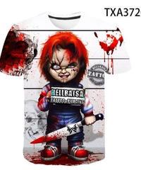 ホラー映画 キャラクター メンズ Tシャツ チェイルドプレイ チャッキー ホラーテイスト 半袖 トップス ホワイト  XXS~4XL