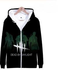Dead by Daylight キラー シルエット 5ラインロゴ クールプリント フード付 ジップアップ 長袖 メンズ パーカースウェット カジュアル トップス XXS~4XL