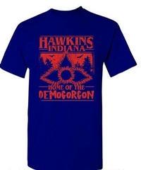 Dead by Daylight デモゴルゴン 追加キラー レッドプリント カジュアル ホラーテイスト 半袖 メンズ Tシャツ 夏服 インナー S~XXXL ブルー
