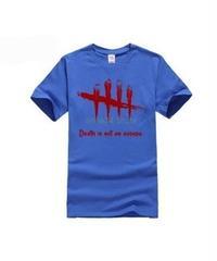 Dead by Daylight 5ライン ホラーテイスト イラストプリント 半袖 メンズ カジュアル Tシャツ S~XXXL ブルー