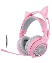 ピンクカラー 猫耳 キュート 有線 ゲーミングヘッドフォン レディース ユニーク ヘッドセット マイク付 オンラインゲーム オンライン飲み会