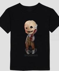 Dead by Daylight トラッパー デフォルメイラスト ユニーク ブラックカラー 半袖 メンズ Tシャツ カジュアル トップス 夏服 XS~XXXL