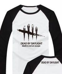 Dead by Daylight ロゴマーク 文字プリント 長袖 Tシャツ プリント Oネック トップス S~XXXL ラグランスリーブ モノクロカラー