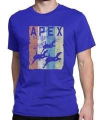 APEX LEGENDS レトロ イラストデザイン メンズ 半袖Tシャツ プリント サマー トップス 高品質 大人用 100%コットン  S~6XL ブルー