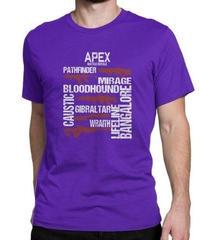 APEX LEGENDS スタイリッシュ レタープリント メンズ 半袖Tシャツ ガンシルエット 高品質 大人用 100%コットン サマートップス S~6XL パープル