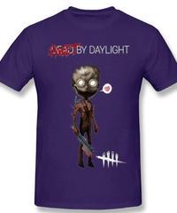 Dead by Daylight デフォルメ キャラクタープリント 半袖 Tシャツ キラー トラッパーデザイン Oネック コットン S~6XL パープル