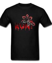 Dead by Daylight デモゴルゴン キラー ホラー 血文字デザイン RUN フロントプリント 半袖 メンズ Tシャツ XS~XXXL ブラック