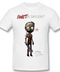 Dead by Daylight デフォルメ キャラクタープリント 半袖 Tシャツ キラー トラッパーデザイン Oネック コットン S~6XL ホワイト