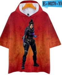APEX LEGENDS ゆったりフィット ストリートシルエット フード付 Tシャツ レッド5