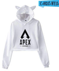 選べる5カラー 2019新作 APEX LEGENDS 猫耳 キュート レディース パーカー シンプルロゴデザイン 長袖 短め丈 トップス