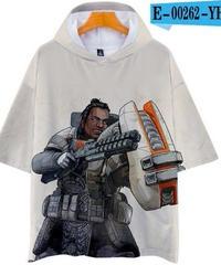 APEX LEGENDS ゆったりフィット ストリートシルエット フード付 Tシャツ ホワイト1