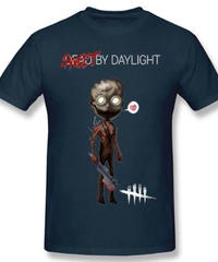 Dead by Daylight デフォルメ キャラクタープリント 半袖 Tシャツ キラー トラッパーデザイン Oネック コットン S~6XL ネイビーブルー