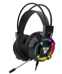 カラフルLED 未来的デザイン 有線 マイク付 ゲーミングヘッドフォン ボイチャ 通話可能 HG19 ハイグレード ヘッドセット ブラック