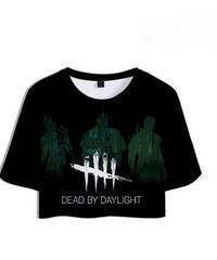Dead by Daylight キラー シルエット 5ラインロゴ クールプリント レディース ショート丈 半袖 Tシャツ カジュアル トップス XS~XXL
