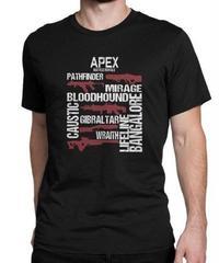 APEX LEGENDS スタイリッシュ レタープリント メンズ 半袖Tシャツ ガンシルエット 高品質 大人用 100%コットン サマートップス S~6XL ブラック