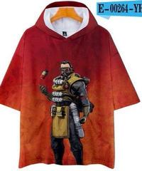 APEX LEGENDS ゆったりフィット ストリートシルエット フード付 Tシャツ レッド2