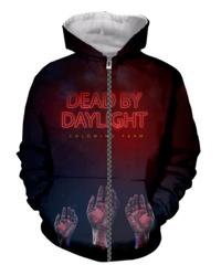 Dead by Daylight ハンドプリント ホラーテイスト フロントデザイン ロゴ ジップアップ 長袖 メンズ フード付 パーカー ブラック S~5XL